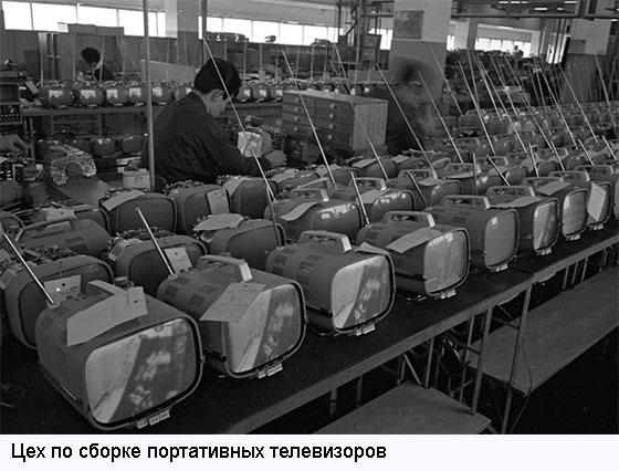 Цех по сборке первых портативных телевизиоров Sony