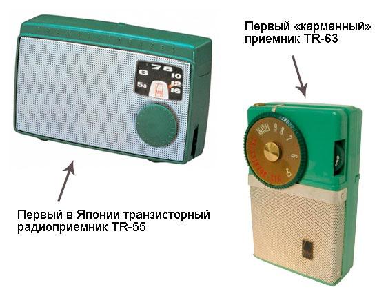 Первые транзисторыне приемники Sony небольших размеров
